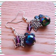 Butterfly and Bead Cluster Earrings