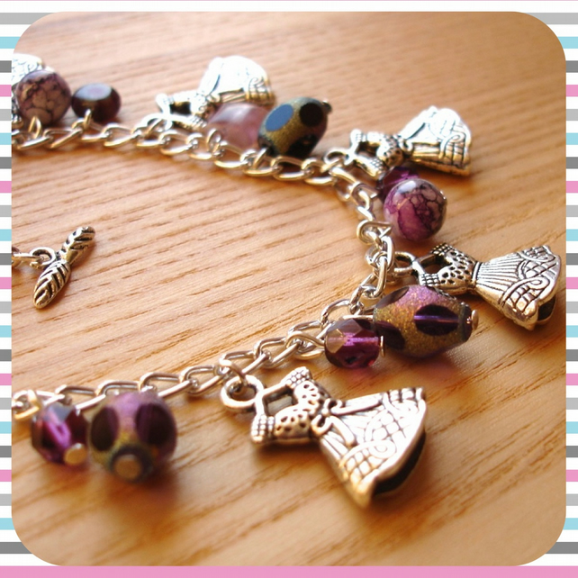 Purple Dress Charm Bracelet