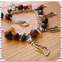 Bronze Kitties Charm Bracelet