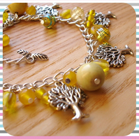 Yellow Woodland Charm Bracelet