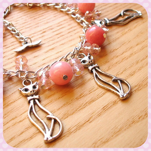 Pink Kitties Charm Bracelet