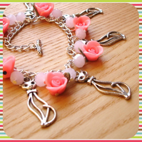 Floral Kitties Charm Bracelet