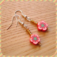 Flower Polymer Clay Earrings