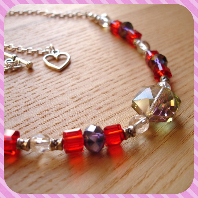 Red and Grey Sparkle Bead Necklace