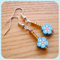 Flower Polymer Bead Jewellery Earrings