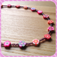 Flowers Polymer Clay Bead Necklace