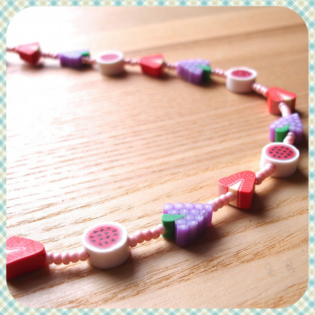 Fruit Salad Polymer Clay Bead Necklace