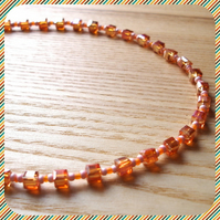 Sparkly Orange Bead Necklace
