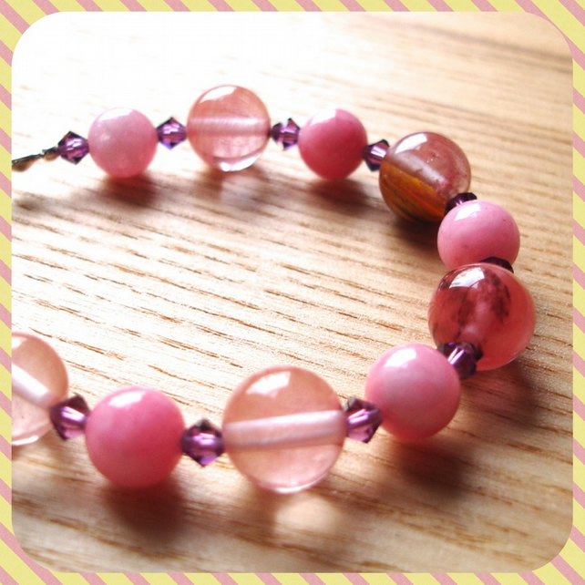 Pink and Purple Bead Bracelet