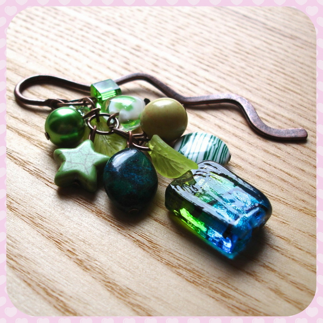 Green and Copper Bead Cluster Bookmark