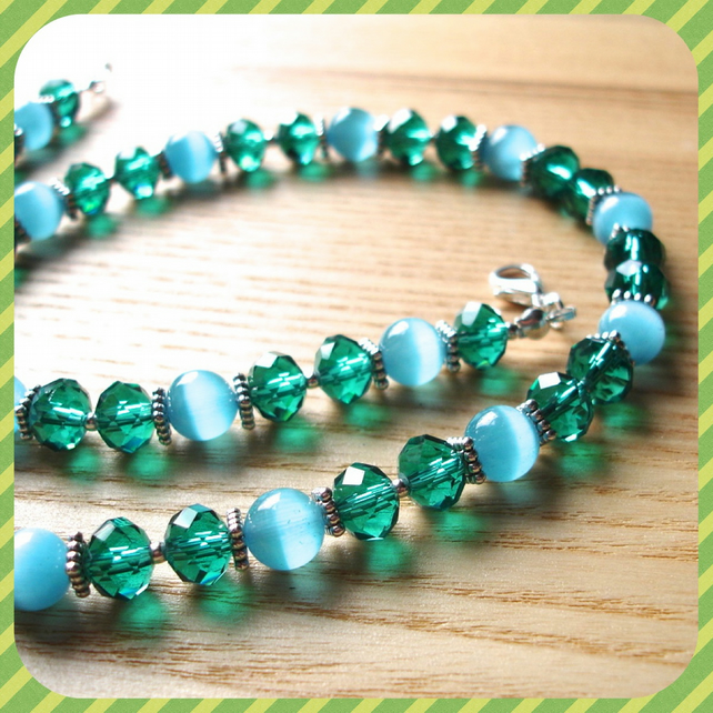 Sparkly Teal Bead Necklace
