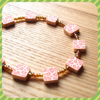 Animal Print Polymer Clay Bead Bracelet