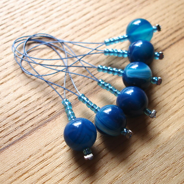 Large Blue Agate Bead Knitting Stitch Markers pack of 6