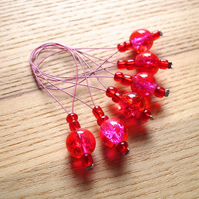 Large Red Pink Glass Bead Knitting Stitch Markers pack of 6