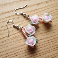 White Rose Polymer Clay Flower Earrings