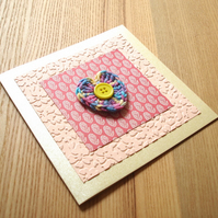 Yellow and Orange Crochet Heart Birthday Anniversary Greetings Card
