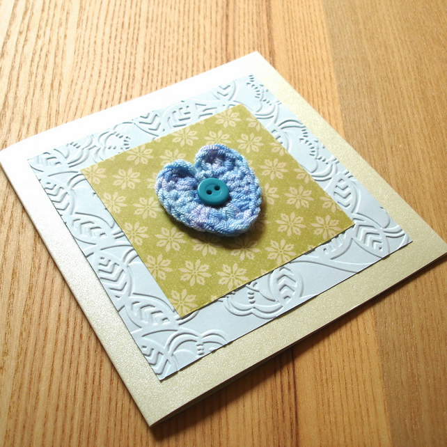 Green and Blue Crochet Heart Birthday Anniversary Greetings Card