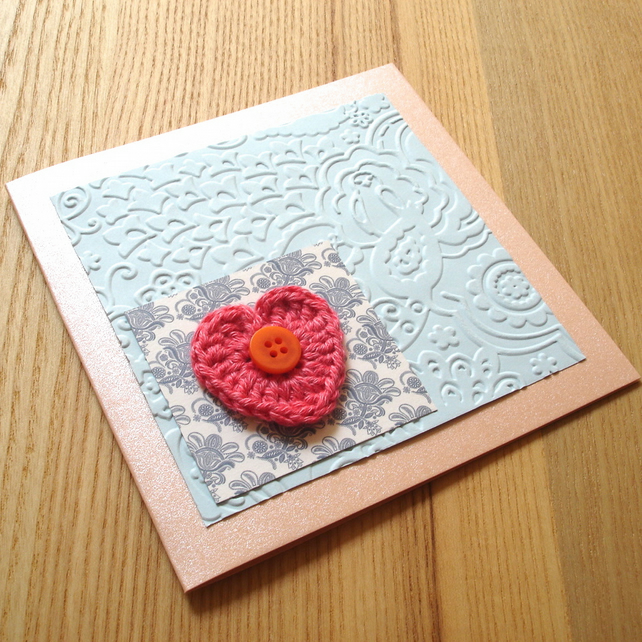 Orange and Blue Crochet Heart and Bird Birthday Anniversary Greetings Card