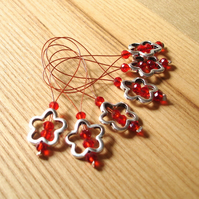 Large Red Crystal Flower Bead Knitting Stitch Markers pack of 6