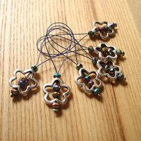 Large Metallic Crystal Flower Bead Knitting Stitch Markers pack of 6