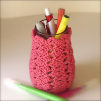 Pen Holder for Desk in Pink - Pencil Jar, Tidy, Pot - Yarn - Crochet Vase