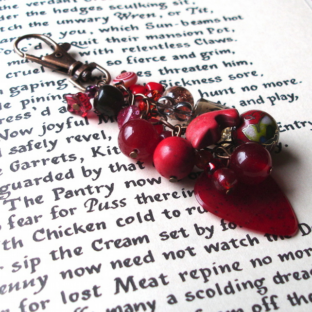 Rock Chick Bag Charm with Red Bead Cluster, Gothic Birthday Gift