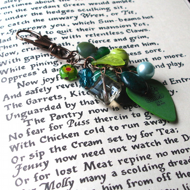 Rock Chick Bag Charm with Green Bead Cluster