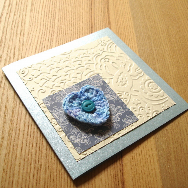 Cream and Blue Crochet Heart Greetings Card