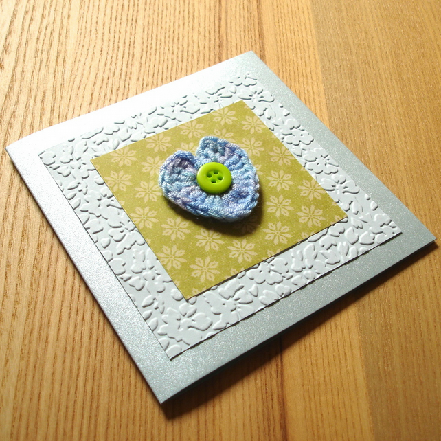 Green and Blue Crochet Heart Greetings Card