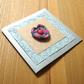 Beige and Blue Crochet Heart Greetings Card