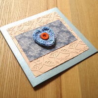 Peach and Blue Crochet Heart Greetings Card
