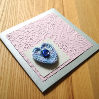 Lilac and Blue Crochet Heart Greetings Card