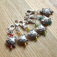 Rainbow Cat Crochet Stitch Markers, Gift for Cat Lover
