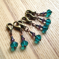 Chic Teal Crystal Crochet Stitch Markers