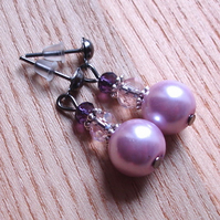Cute Sparkle Glass Pearl and Crystal Stud Earrings Gift for Her