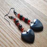 Long Gothic Crystal and Hematite Heart Earrings
