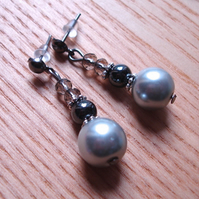 Cute Sparkle Glass Pearl, Hematite and Crystal Stud Earrings Gift for Her