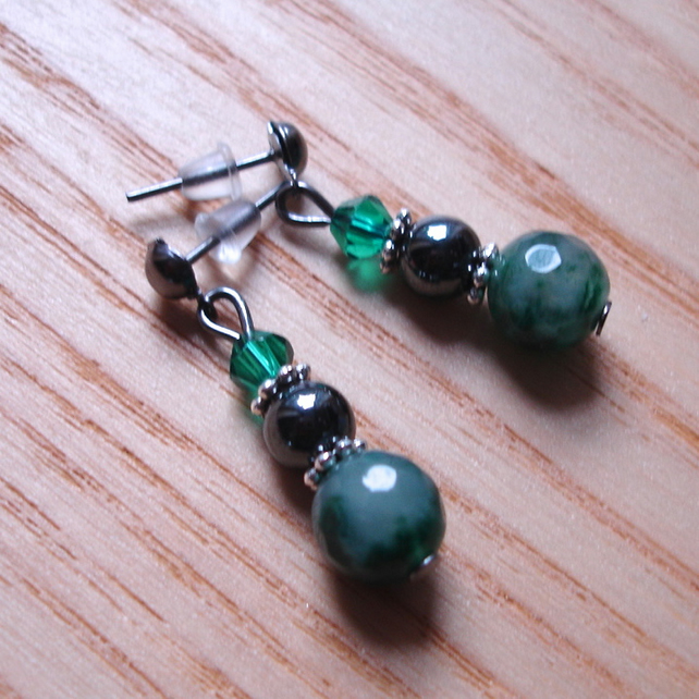 Sparkly Moss Green Agate, Magnetic Hematite and Crystal Bead Earrings