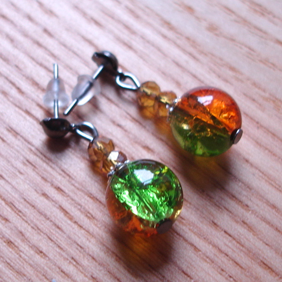 Sparkly Crackle Glass and Crystal Bead Earrings