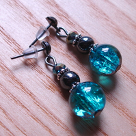 Sparkly Crackle Glass, Magnetic Hematite and Crystal Bead Earrings