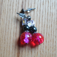 Sparkly Crackle Glass, Magnetic Hematite and Glass Cube Bead Earrings