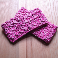 Pink Marl Cotton Crochet Chunky Boot Cuffs