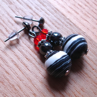 Sparkly Gothic Drop Bead Earrings