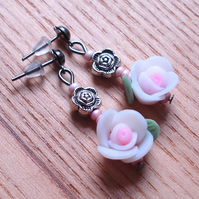 White Rose Polymer Clay Flower Stud Earrings