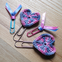 Crochet Hearts Planner Paper Clips set of 4