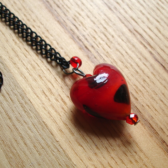 Gothic Black and Red Love Heart Glass Lampwork Pendant