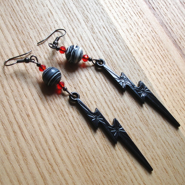 Black Gothic Lightning Bolt Earrings