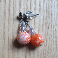 Cute Sparkle Orange Glass and Crystal Stud Earrings Gift for Her