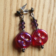 Cute Sparkle Red Glass and Crystal Stud Earrings Gift for Her