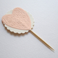 Peachy Orange and Cream Chic Love Heart Cupcake Toppers x 20